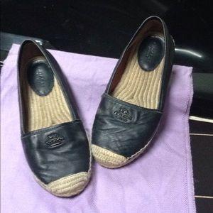 Coach black leather used espadrilles!